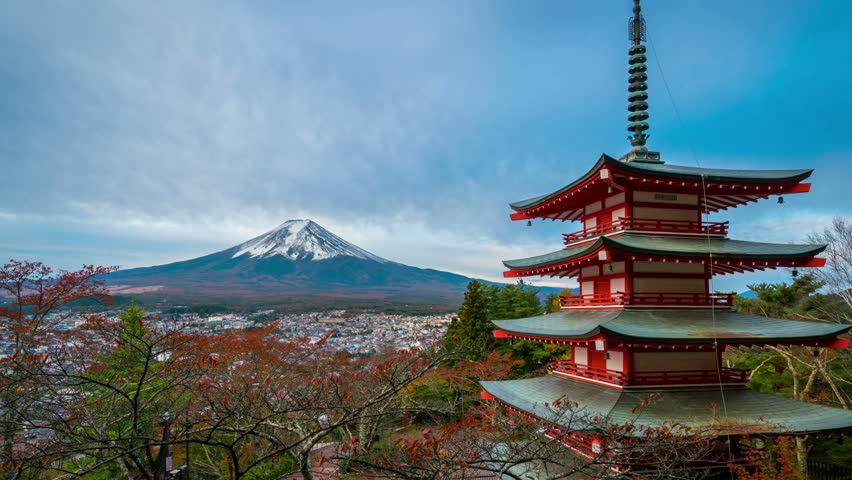 4K motion Time lapse of mount Fuji and Chureito Pagoda at sunrise in autumn, Japan. | Shutterstock HD Video #25227896