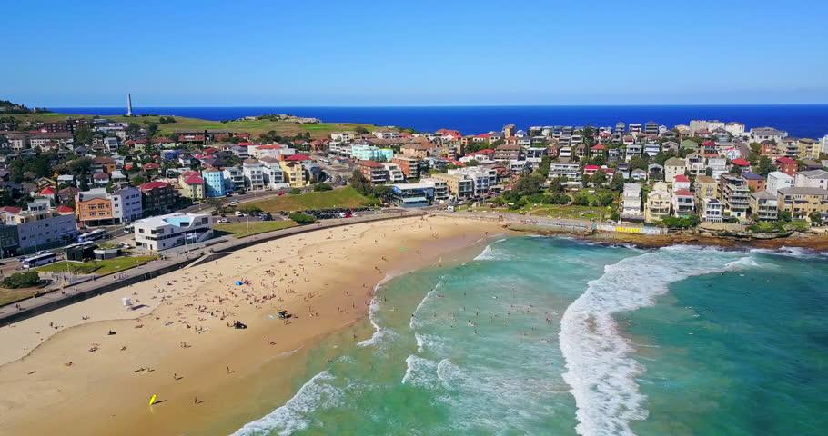 Aerial view of Bondi Beach or Bondi Bay at sunny day in Sydney