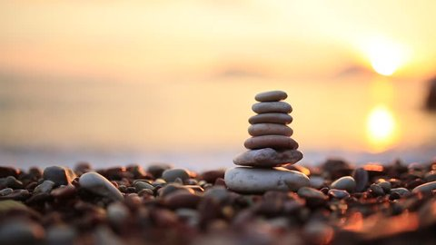 Balance stones on the beach. Peace of mind. Equilibrium life. Calming nerves.