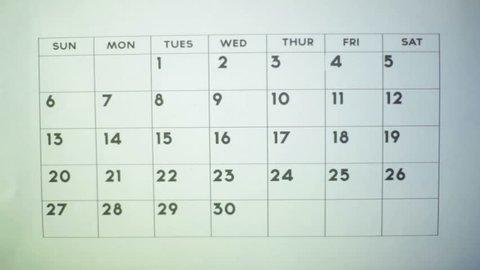 Marking off days on a calendar