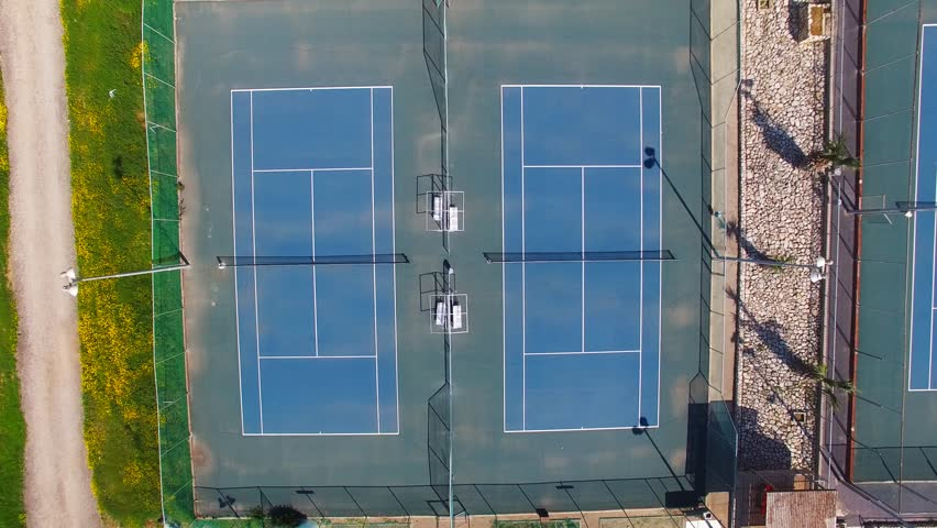 Empty Tennis Court Top Stock Footage Video 100 Royalty Free