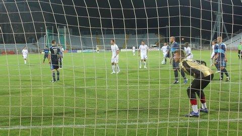 RIJEKA, CROATIA - JULY 14: soccer match between HNK Rijeka and NK Sampion Celje (friendly match) 2012 in Rijeka, Croatia. Jurica Vranjes (Rijeka) scores the goal.
