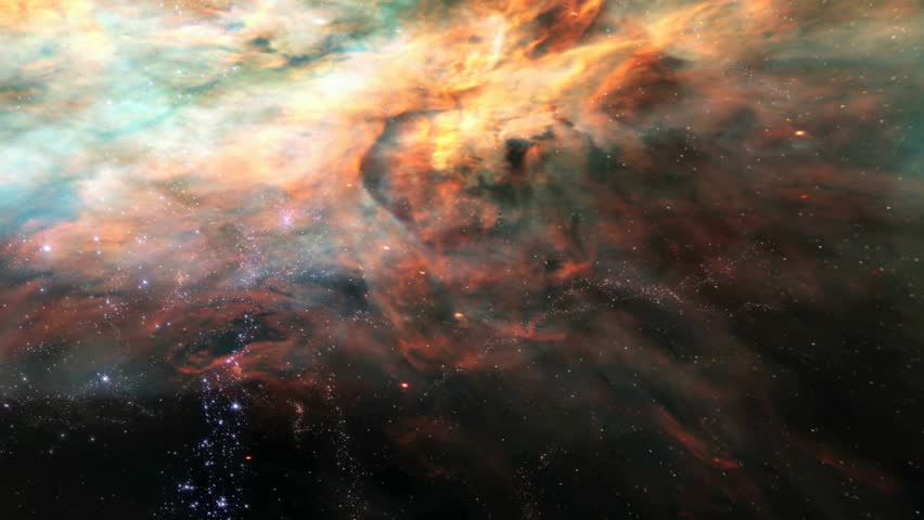 HD - Flying through a glorious nebula and star fields in deep space (Loop).