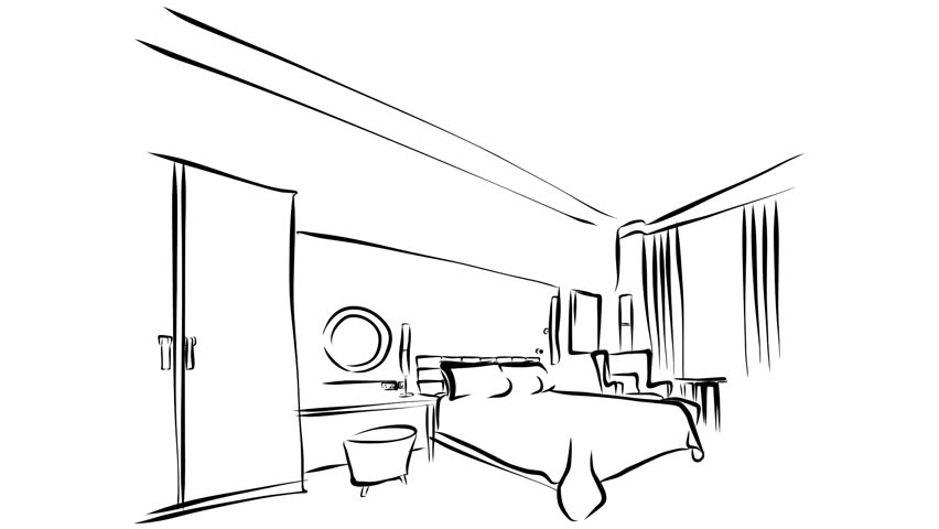 Modern Hotel Room Kig Size Bed Animation. Illustration Outline Drawing Sequence. 5 seconds buildup and 5 seconds teardown motion design.