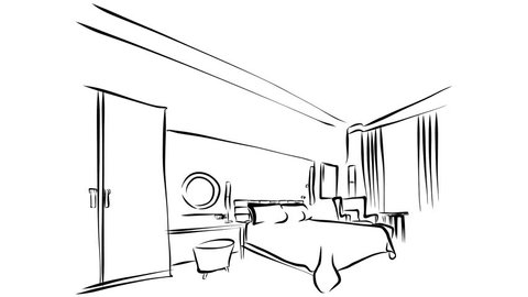 Modern Hotel Room Kig Size Bed Animation. Illustration Outline Drawing Sequence. 5 seconds buildup and 5 seconds teardown motion design.