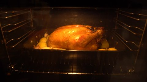 4K Thanksgiving Turkey Cooking In Oven. Preparing tipical delicious chicken food. Tasty traditional dish Thanksgiving Day-Dan