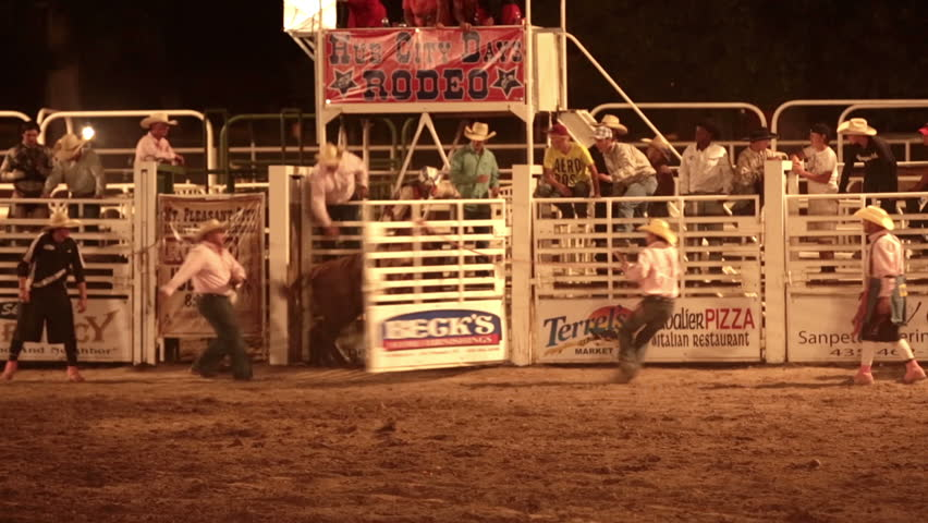 MOUNT PLEASANT, SANPETE, UTAH 3 JUL 2012: Annual rodeo and community fund raising competitive. Economic boost. Rodeo bull rider winning time. Rural fair, rodeo and community celebration.