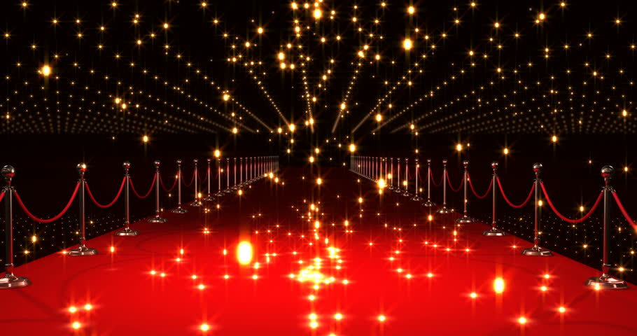 Digital Animation Of Long Red Carpet With Spotlights Stock