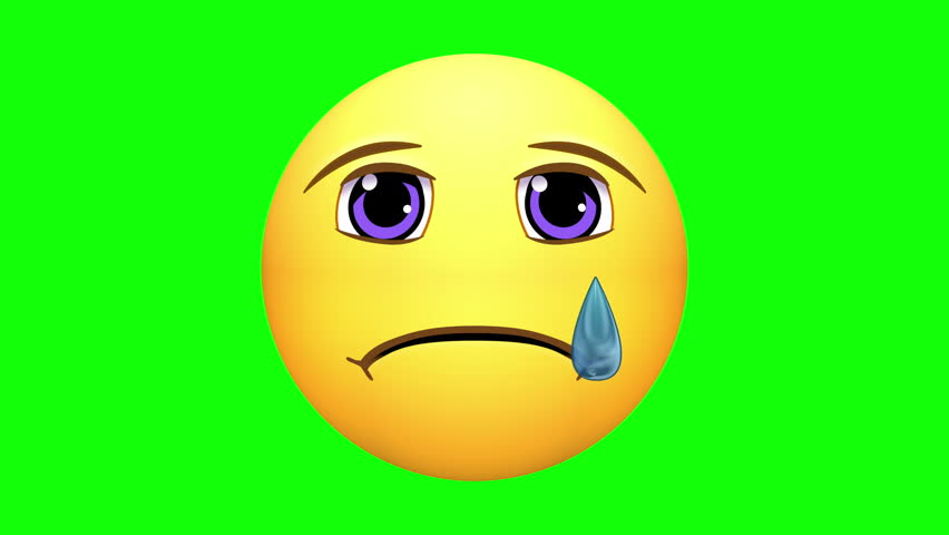 Emojis. Sad, Crying, Angry Faces, starting from Happy, with options of loop-able sections, or pausing the action. Green screen chroma key. Note: All emojis are my own design. | Shutterstock HD Video #25351256