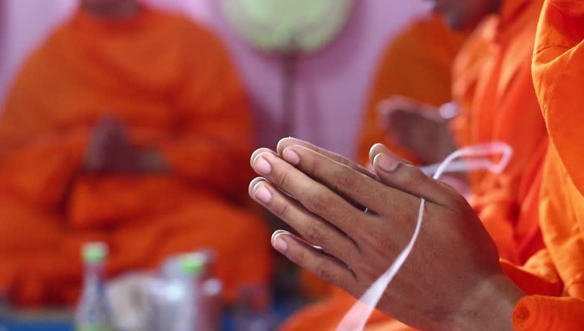 Short clip : Buddhist monk Phanom hands Buddhist ceremony. Prayer is the expression of Buddhism.