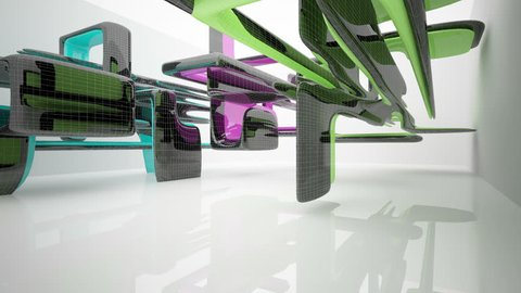 Abstract architectural background of the polygons. Concept of organic architecture.3D animation and rendering. Part 1