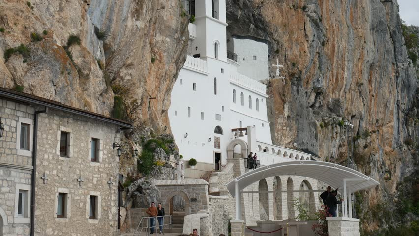 Ostrog monastery in Montenegro. The unique monastery in the rock.