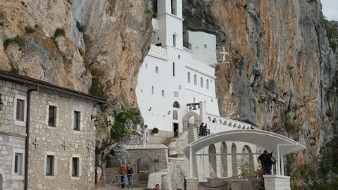 Ostrog monastery in Montenegro. The unique monastery in the rock.