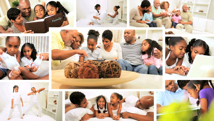 Montage collection African American family generations leisure time