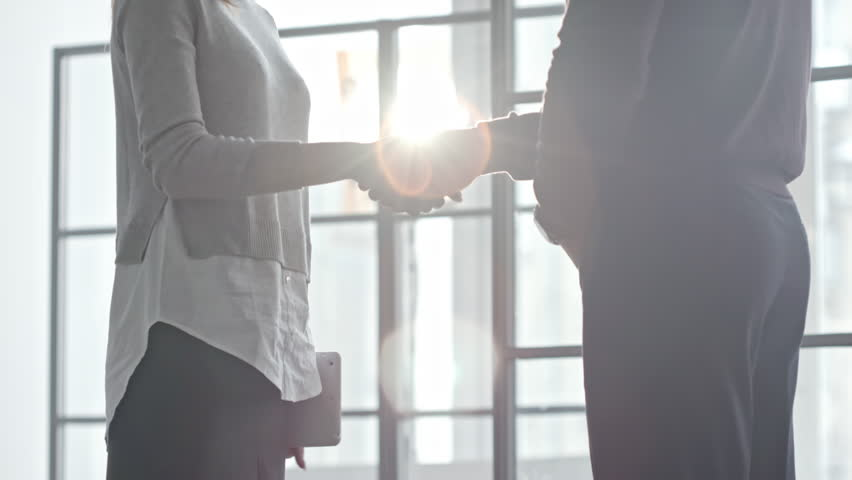 Tilt up of businesswoman with tablet shaking hands with male colleague and discussing work before window on sunny day | Shutterstock HD Video #25391582