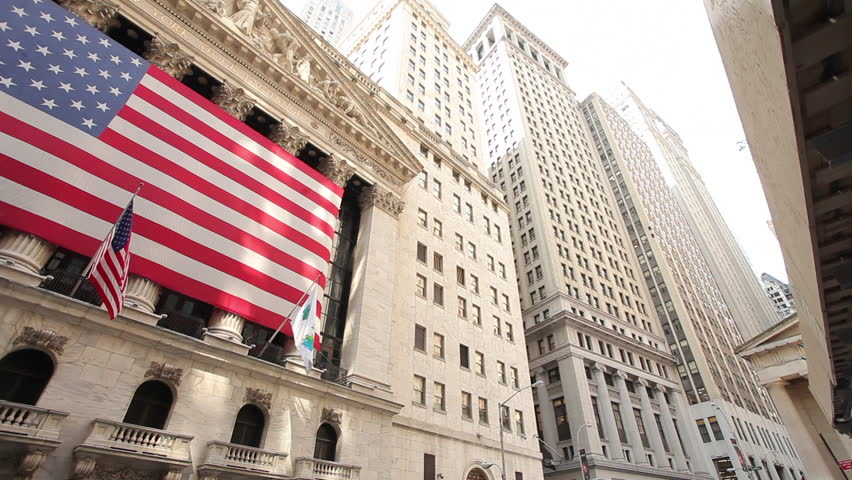 NEW YORK - CIRCA July, 2012: Wall Street wide pan New York Stock Exchange NYSE
