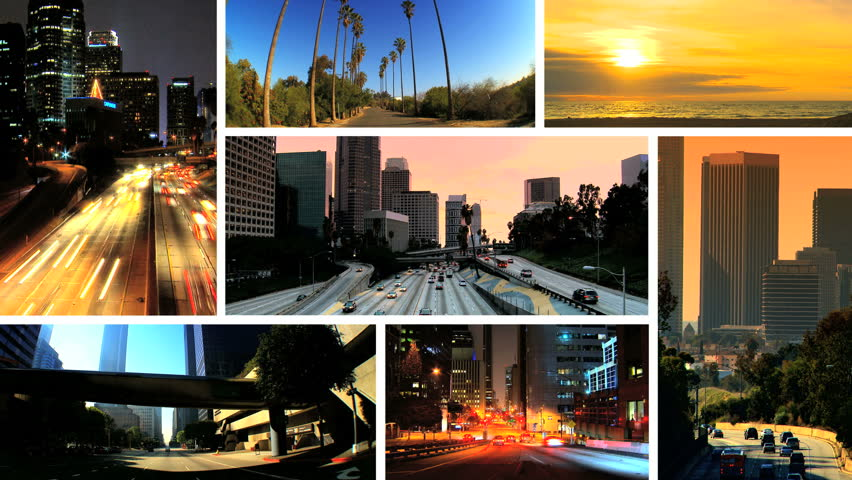 Montage images Los Angeles city lifestyle living daytime and night