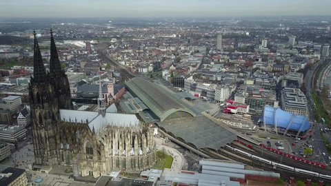 Aerial View of Cologne Cathedral and Surroundings including Train Station Hauptbahnhof