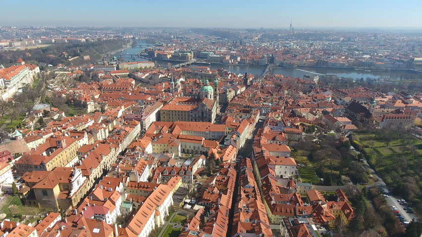 Aerial view on old Town of Prague and St. Nicholas Church, Czech Republic | Shutterstock HD Video #25454906