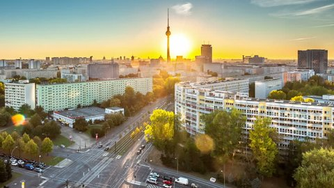 A timelapse shot of a sunset over Berlin.