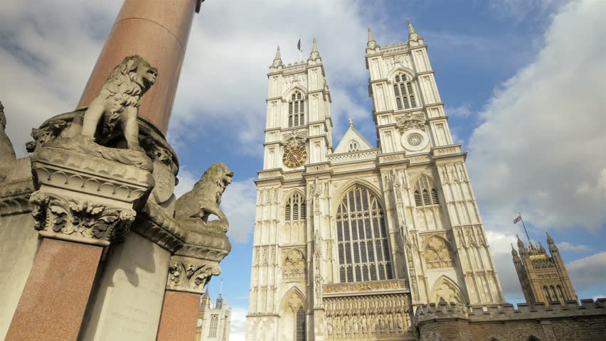 Westminster Abbey, London, western facade. Western facade of Westminster Abbey in London, England. Includes camera move.