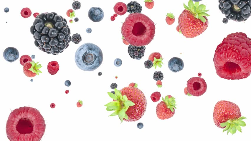 Mixed berries falling down on white background