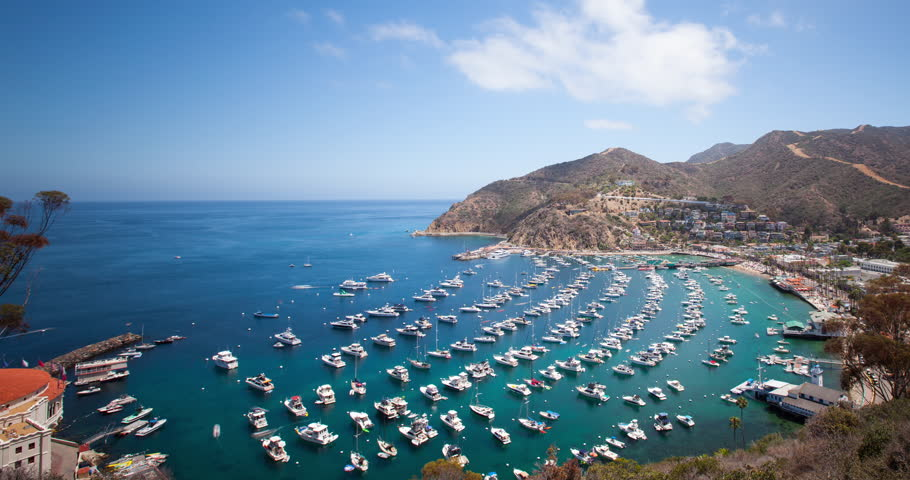 Looking down at the bay and town of Avalon on Catalina Island. Boat fill the harbor. Time Lapse