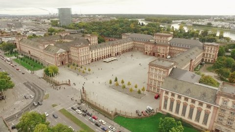 Drone flight over Mannheim University castle
