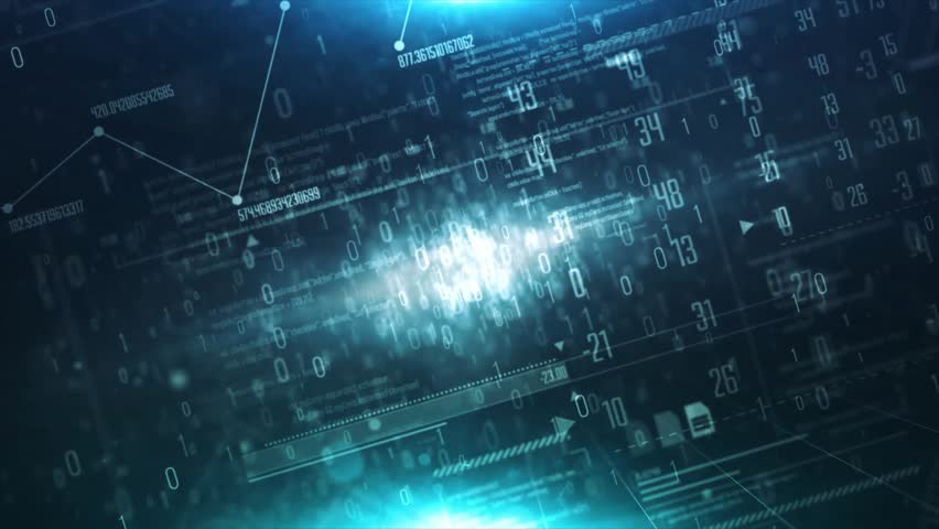 Abstract matrix cube surrounding a source of binary numbers and network Seamless looping Background  | Shutterstock HD Video #25618853