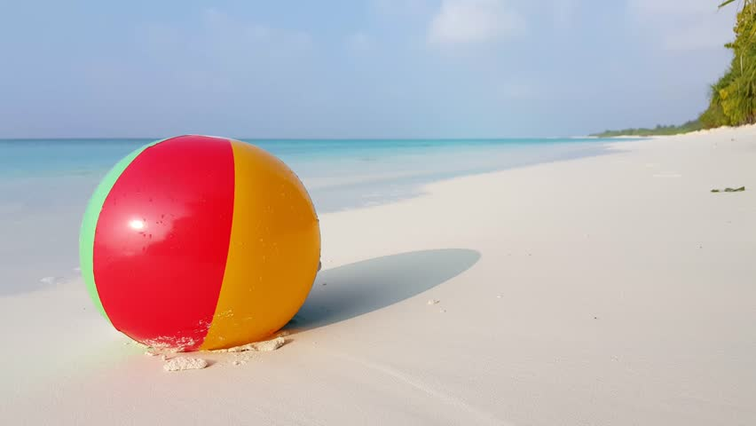 beach ball in ocean. Maldives Beautiful Beach Background White Sandy Tropical Paradise Island With Blue Sky Sea Water Ocean 4k Ball In