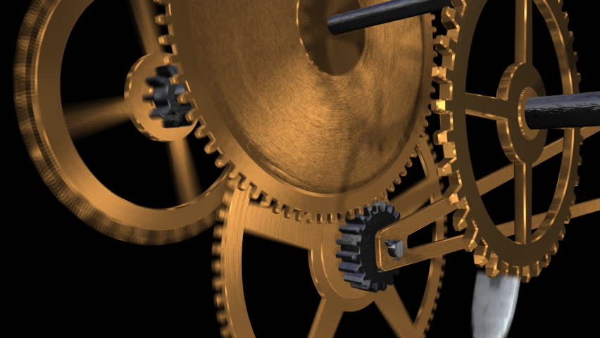 An 10 sec close up animation of a clock's inner workings (gears) with an alpha mask.