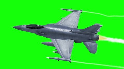 F-16 Fighting Aircraft Jet Green Screen Top 3D Rendering Background