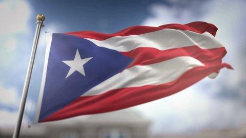 Puerto Rico Flag Waving Slow Motion 3D Rendering Blue Sky Background - Seamless Loop 4K