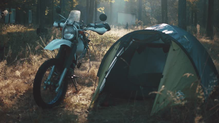 morning ride motorcycle adventure enduro sunrise lifestyle camp tent