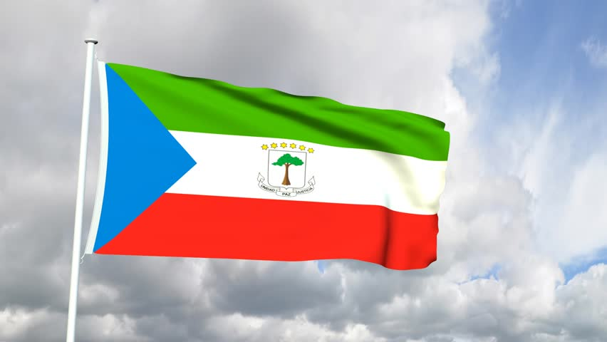 Flag Of Equatorial Guinea Sky Background Stock Footage Video