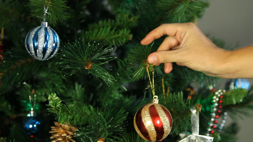 Christmas Tree Balls.Decorating Christmas Tree Putting Christmas Stock Footage Video 100 Royalty Free 2573906 Shutterstock