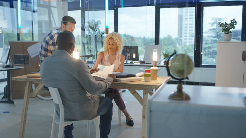 4K Creative business team brainstorming with sticky notes in modern office | Shutterstock HD Video #25740425