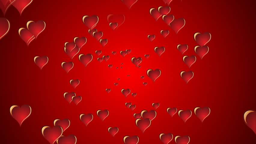 Stock Video Of Red 3d Hearts Exploding Onto The 2574296