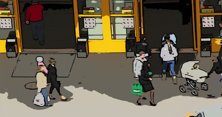 Animation cartoon time lapse people enter and exit into the automatic sliding doors of the supermarket