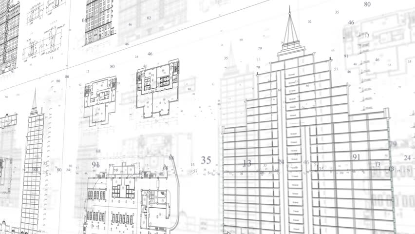 Architecture Drawing Of A City On White Background Ful Hd Stock