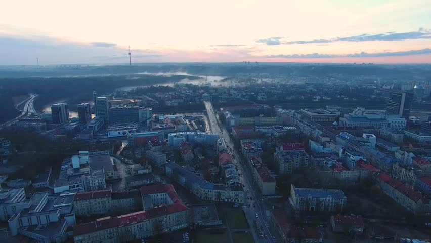 Aerial view of the Vilnius city, capital of Lithuania, evening time #25781756