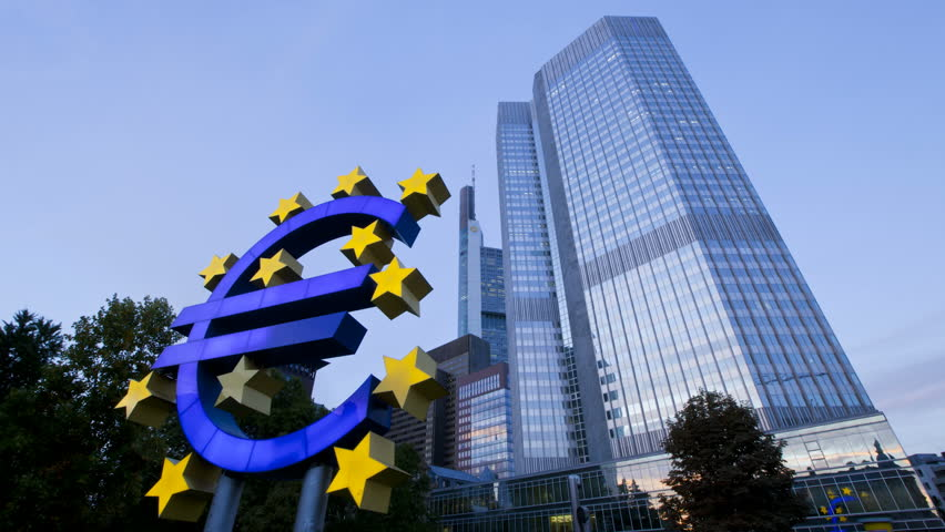 FRANKFURT, GERMANY - CIRCA MAY 2011: Euro sign at European Central Bank