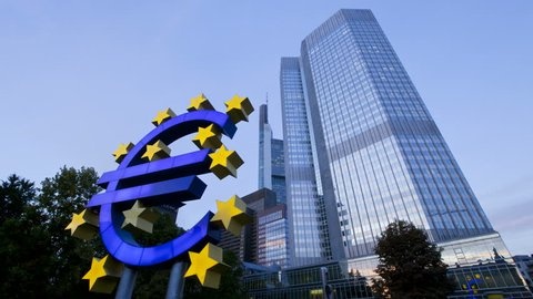 FRANKFURT, GERMANY - CIRCA MAY 2011: Euro sign at European Central Bank