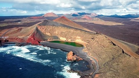 Aerial view of Volcanic Lake El Golfo, Lanzarote, Canary Islands, Spain