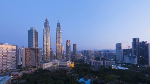 KUALA LUMPAR - CIRCA MAY 2011: Elevated view of the Petronas Twin Towers, during the evening