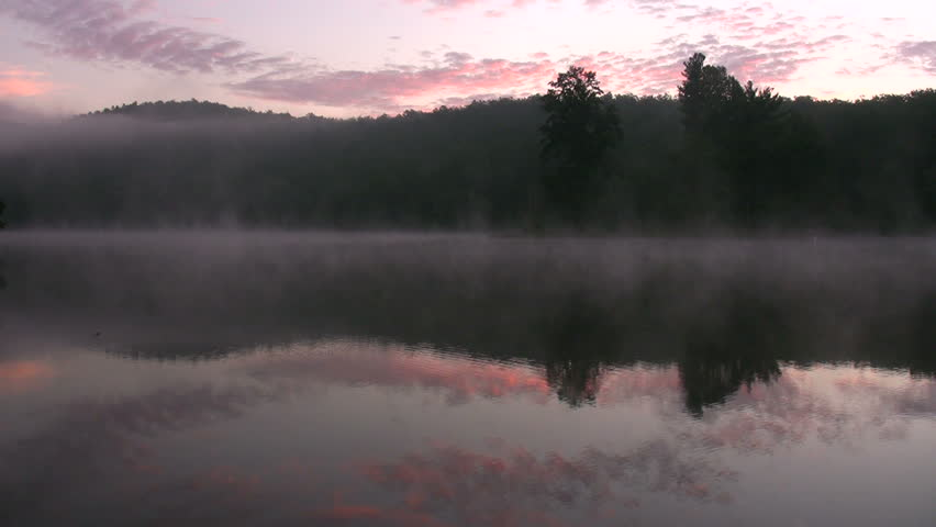 foggy lake landscape at dawn on Sherando Lake, Virginia - wide angle