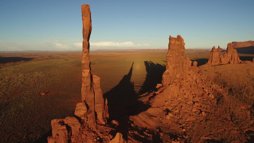 Monument Valley Aerial Totem Pole 19 Sunset