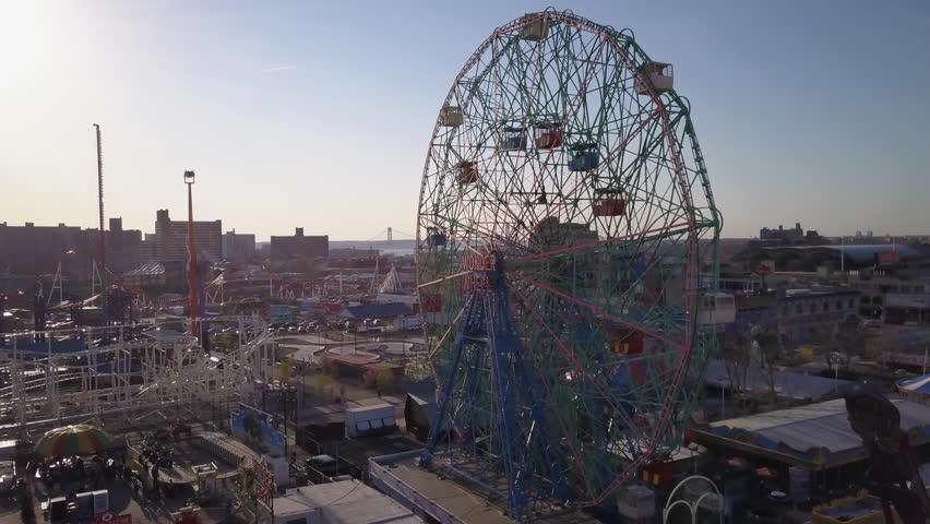 Flying right around Wonder Wheel in Coney Island