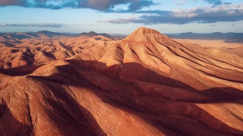 Flight over desert aerial landscape, Fuerteventura island, Spain