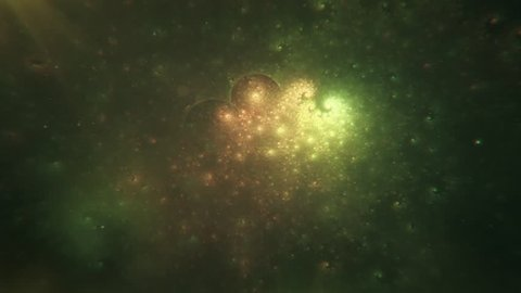Beautiful Abstract Cosmic Fractal Nebula Space Slowly Morphing - Warm Green and Orange